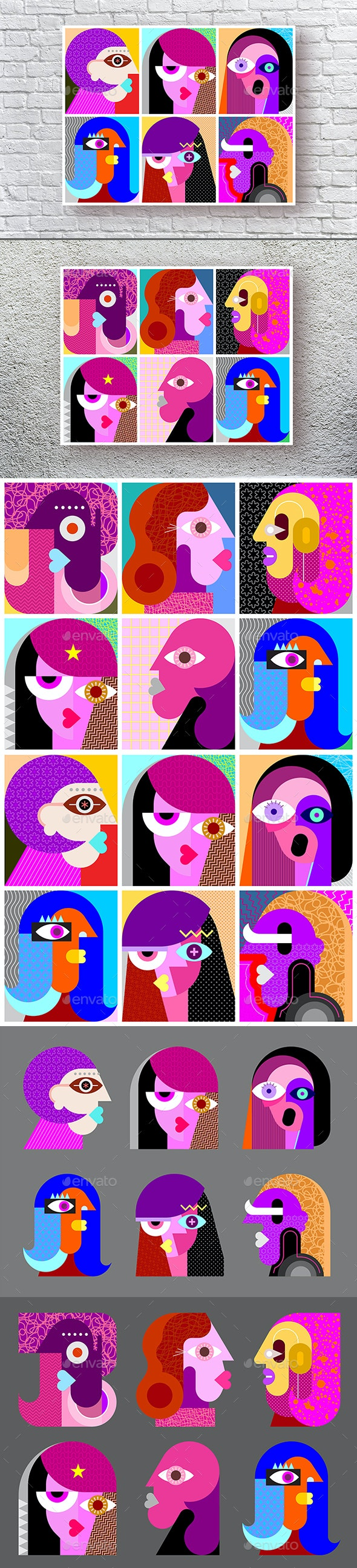 Twelve Abstract Vector Portraits - People Characters