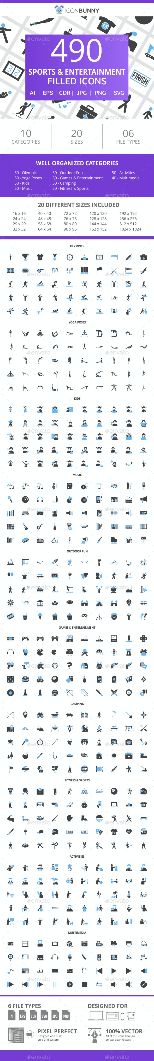 490 Sports & Entertainment Filled Blue & Black Icons - Icons