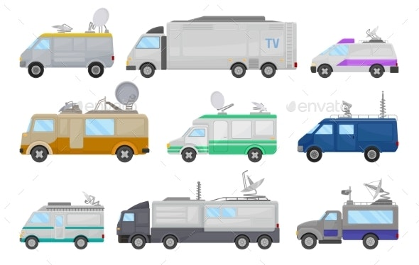 Flat Vector Set of Media Cars - Man-made Objects Objects