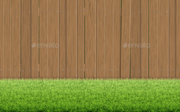 Grass Lawn and Brown Wooden Fence - Flowers & Plants Nature