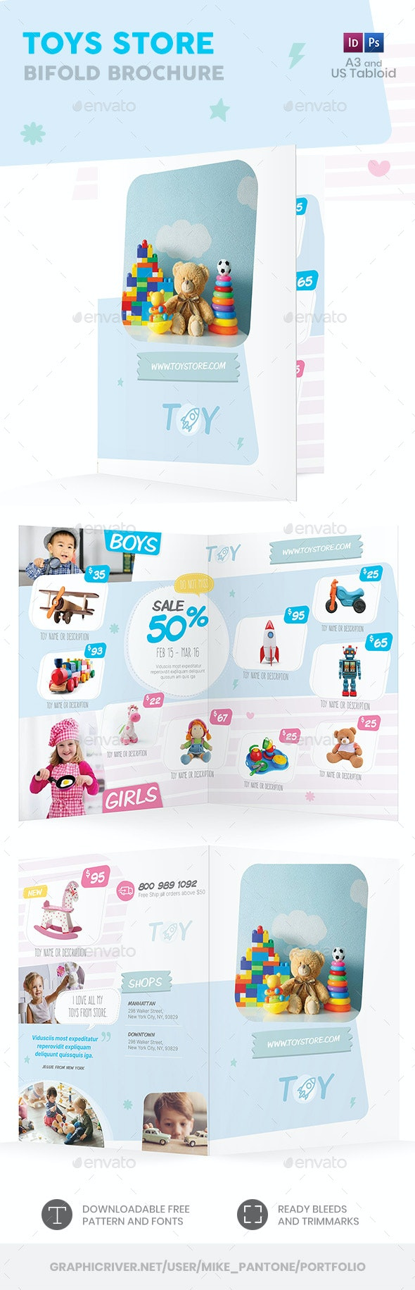 Toys Store Bifold / Halffold Brochure 2 - Informational Brochures