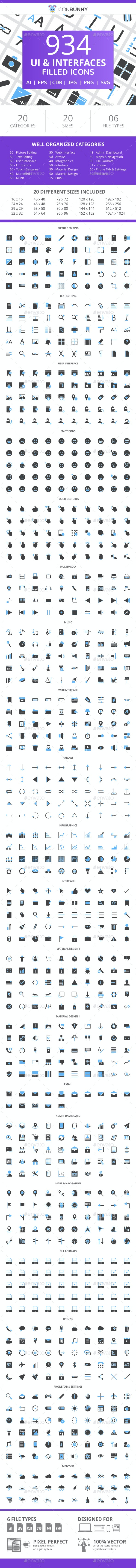 934 UI & Interfaces Filled Blue & Black Icons - Icons