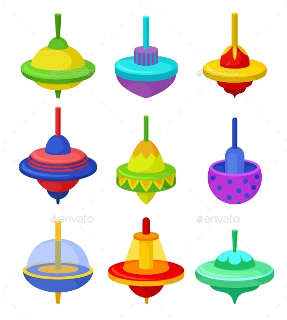 Flat Vector Set of Colorful Whirligigs - Man-made Objects Objects