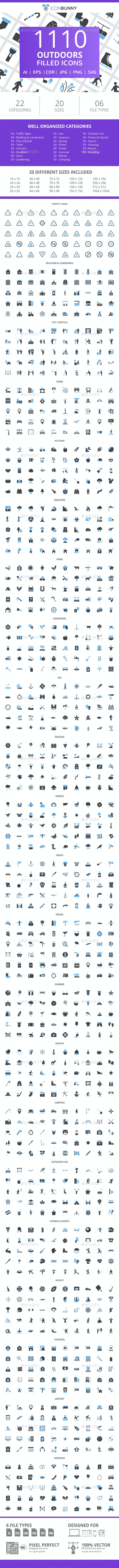 1110 Outdoors Filled Blue & Black Icons - Icons