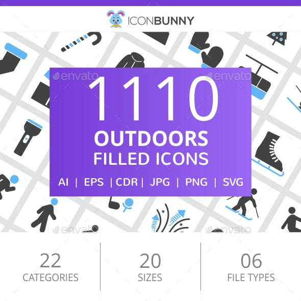 1110 Outdoors Filled Blue & Black Icons