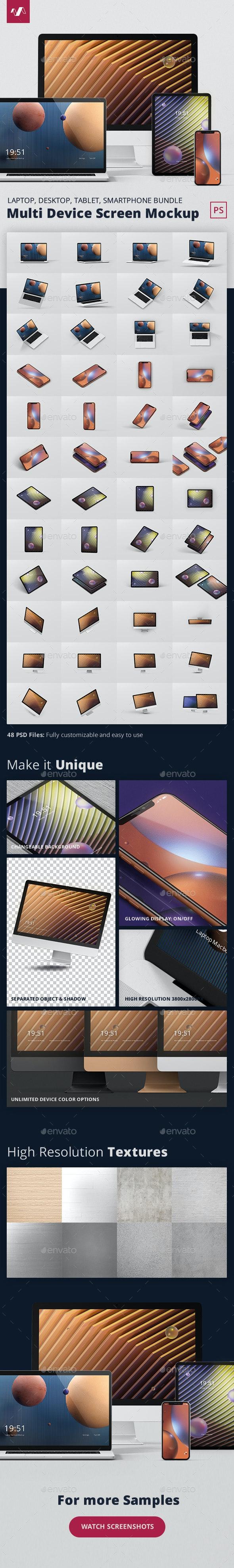 Multi Device Screen Mockup Bundle - Multiple Displays