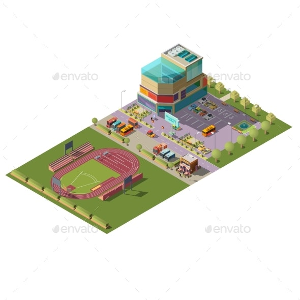 Shopping Center and Stadium Isometric Vector - Buildings Objects