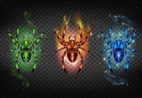Toxic Igniting and Freezing Spiders Vector Set - Animals Characters