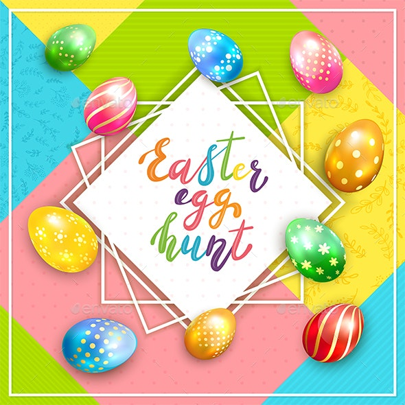 Easter Card on Colorful Background with Painted Eggs Hunt - Miscellaneous Seasons/Holidays