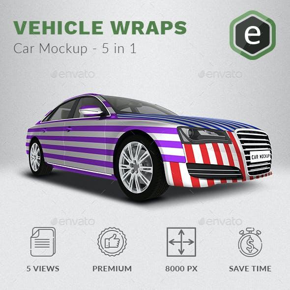 Car Mockup Based on Audi A8 - 5 In 1