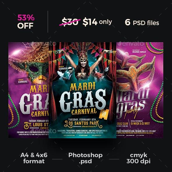 Mardi Gras Carnival Flyer Bundle
