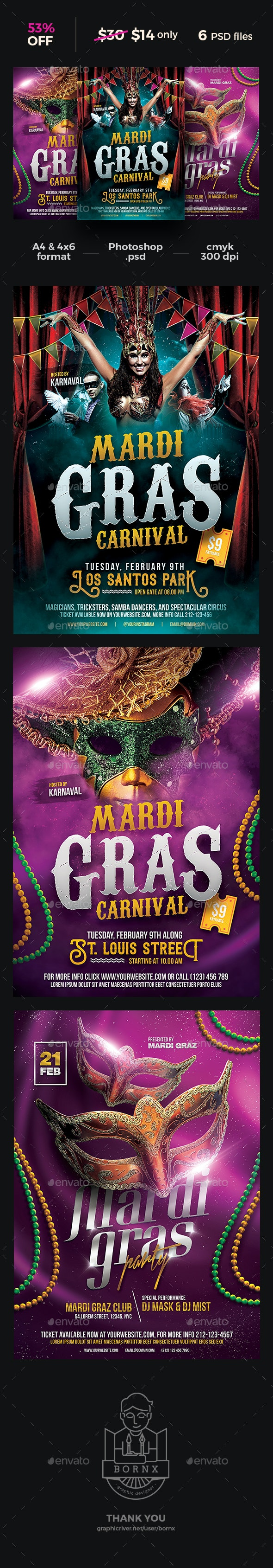 Mardi Gras Carnival Flyer Bundle - Clubs & Parties Events