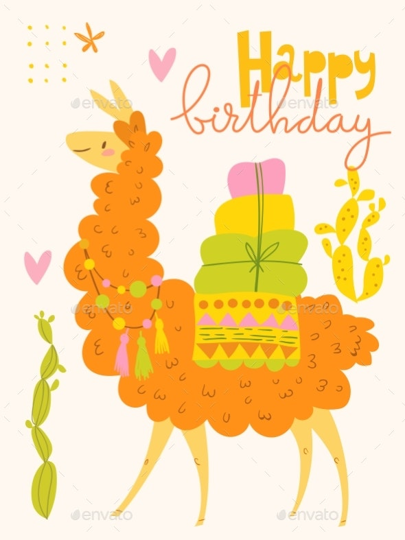 Vector Poster or Card with Cartoon Llama - Animals Characters
