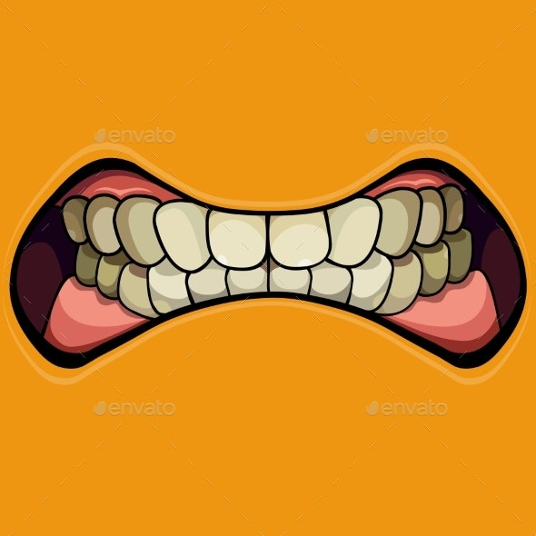 Cartoon Grinning Mouth with Clenched Teeth - People Characters