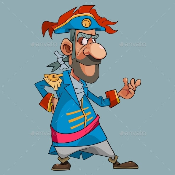 Cartoon Man in Theatrical Medieval Dress Captain - People Characters