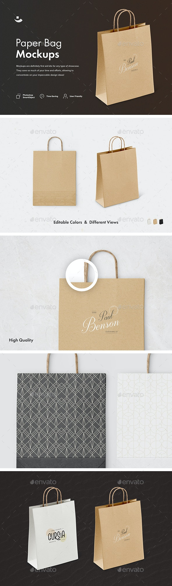 Paper Bag Mockup Set - Packaging Product Mock-Ups