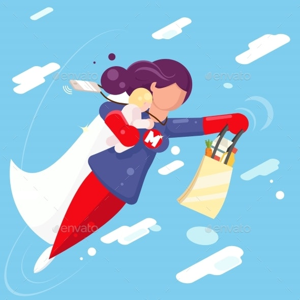 Modern Super Hero Mother Flying - People Characters