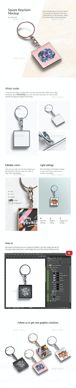 Square Keychain Mockup - Product Mock-Ups Graphics