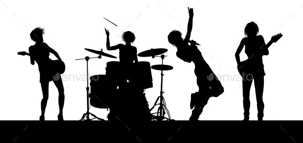 Female Music Band Concert Silhouettes - People Characters