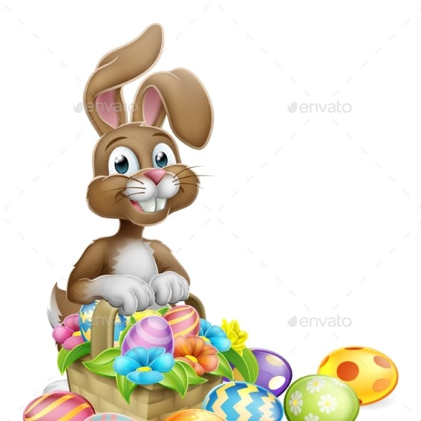 Easter Bunny Eggs Hunt Basket Cartoon