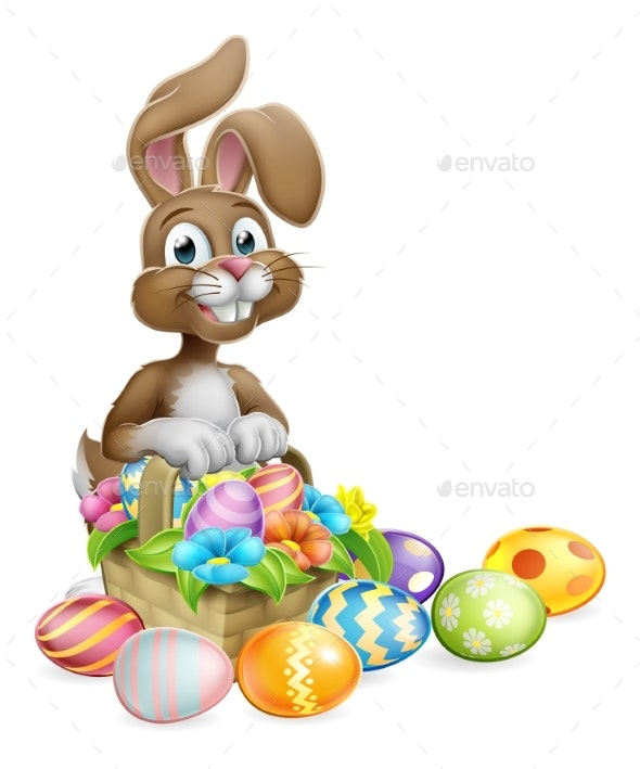 Easter Bunny Eggs Hunt Basket Cartoon - Miscellaneous Seasons/Holidays
