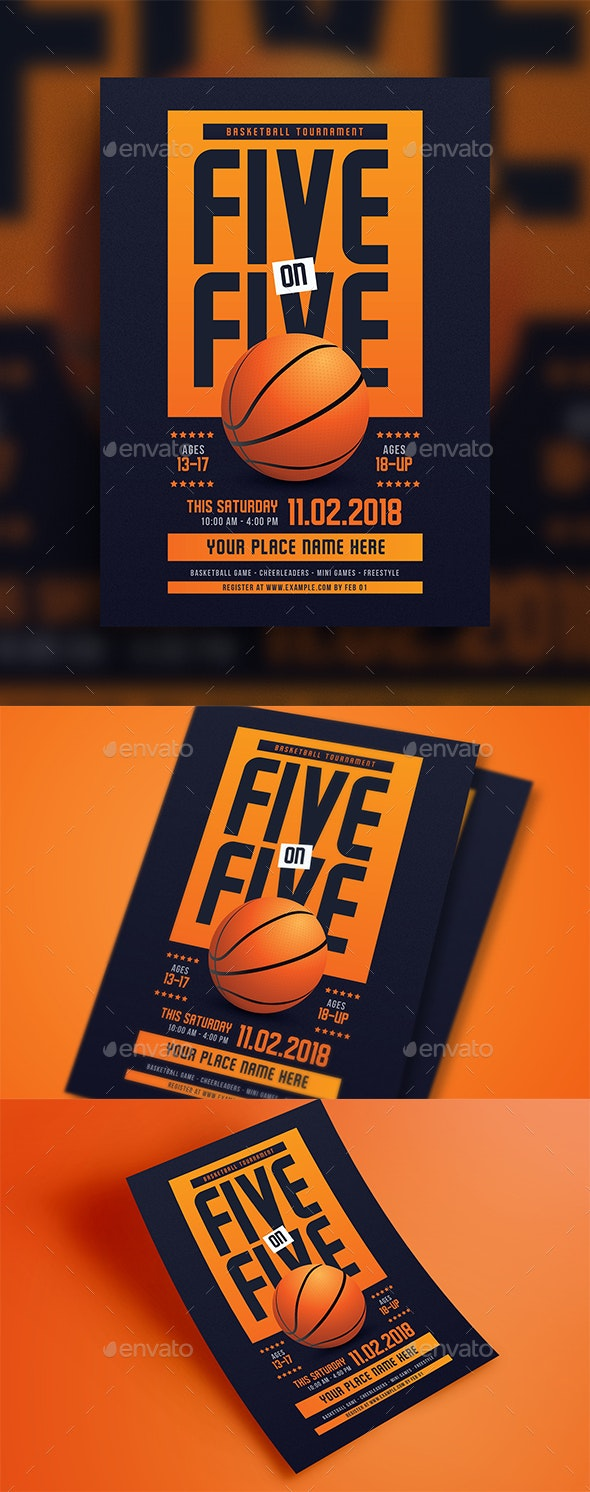 5 On 5 Basketball Tournament Flyer - Sports Events