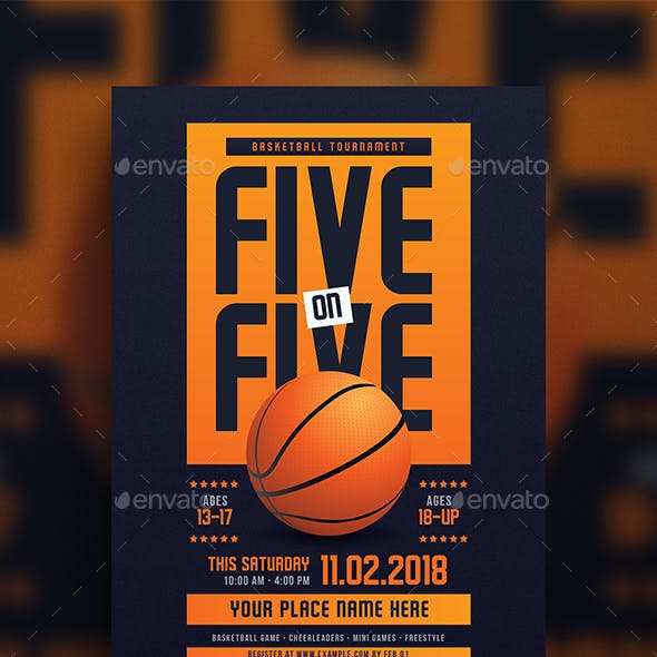 5 On 5 Basketball Tournament Flyer