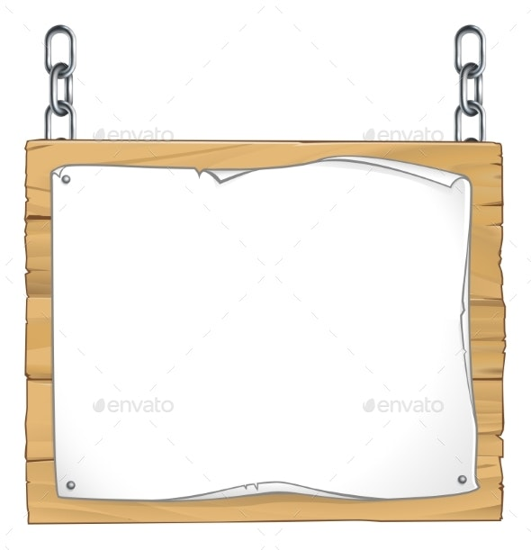 Scroll Wooden Sign Hanging From Chains - Backgrounds Decorative