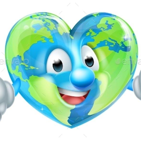 Cartoon Heart World Earth Day Globe Character