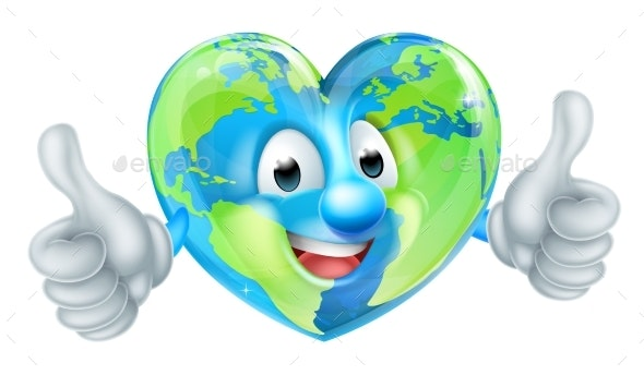 Cartoon Heart World Earth Day Globe Character - Miscellaneous Characters