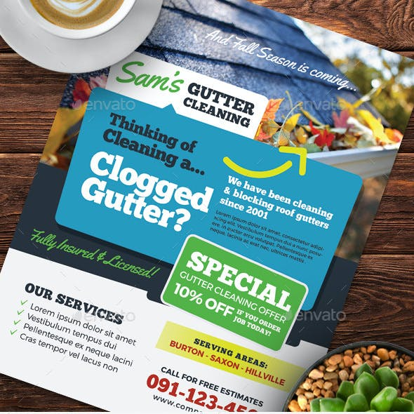 Gutter Cleaning Flyer Templates