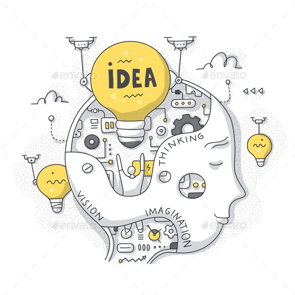 Idea and Thinking Process Doodle Concept