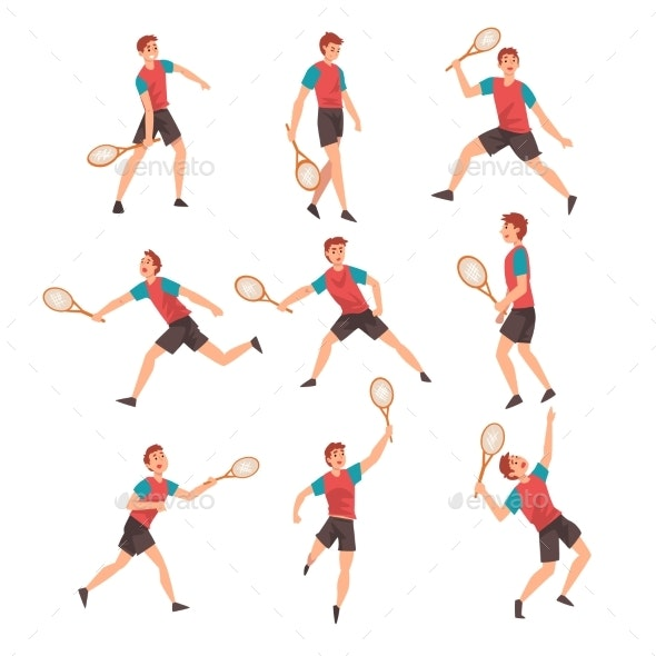 Young Man Playing Tennis Set Professional - Sports/Activity Conceptual