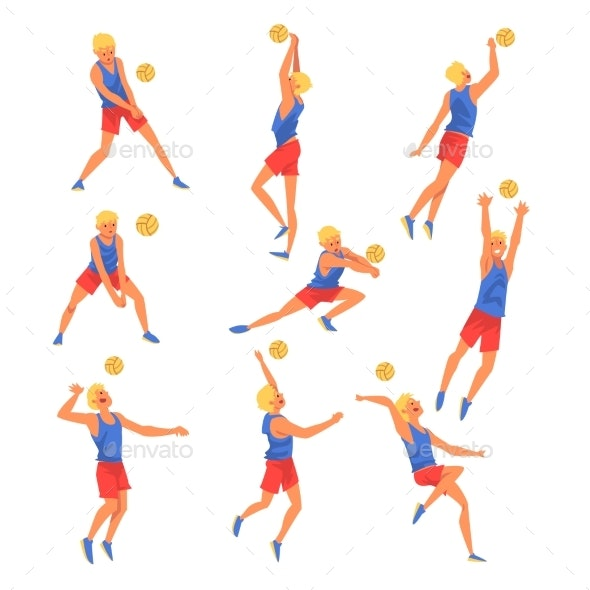 Male Volleyball Player Playing With Ball Set - Sports/Activity Conceptual