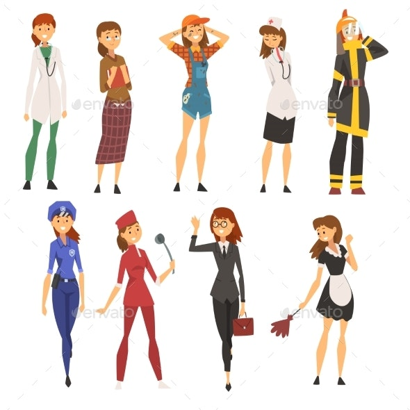 Women of Different Professions Set - People Characters