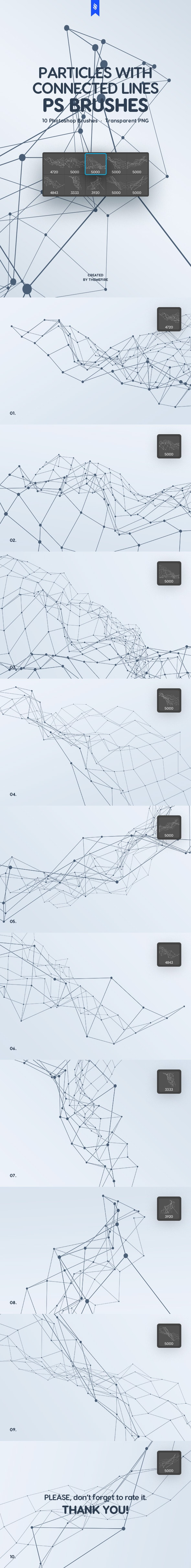 Particles with Connected Lines Photoshop Brushes - Techno / Futuristic Brushes