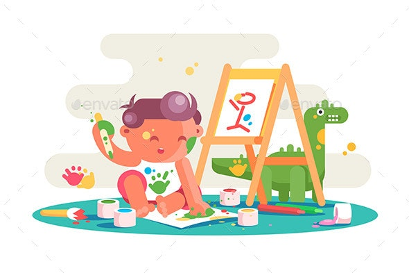Kid Painting Picture on Easel - People Characters