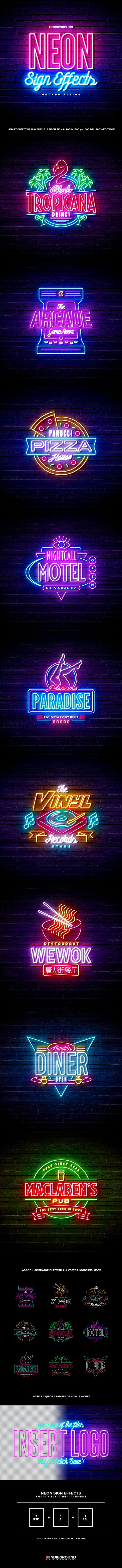 Neon Sign Effects - Photoshop Add-ons