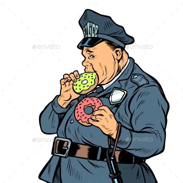 Cop Eats Donut - People Characters