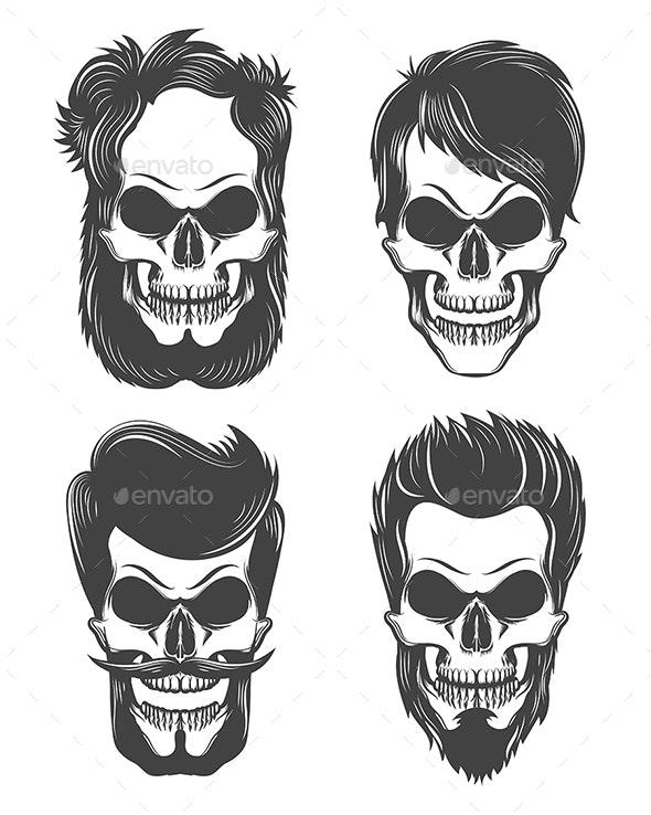 Different Skull Character Set - Tattoos Vectors