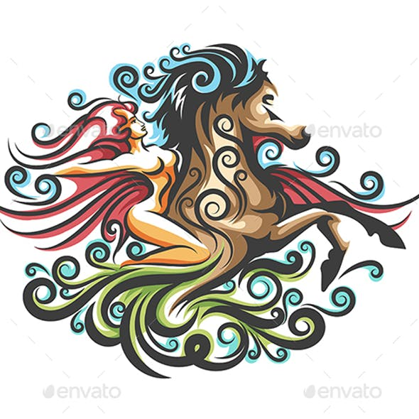 Girl on The Horse Ornate Emblem