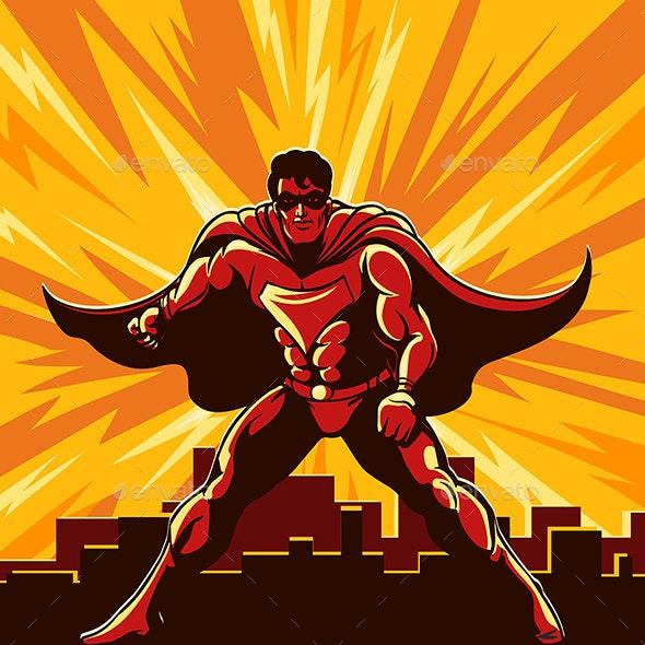 Superhero Watching Over City - Miscellaneous Conceptual