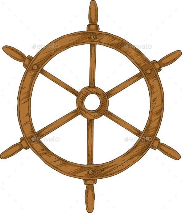 Ship Steering Wheel - Man-made Objects Objects