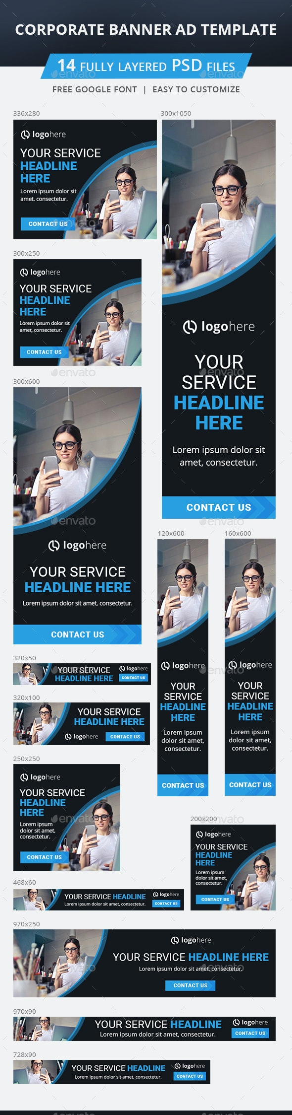 Corporate Banner Ad Template - Banners & Ads Web Elements