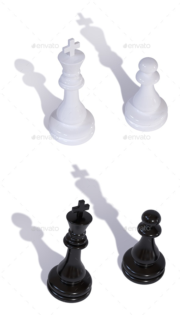 Two Chess Pieces King and Pawn with Inverted Shadows - Objects 3D Renders