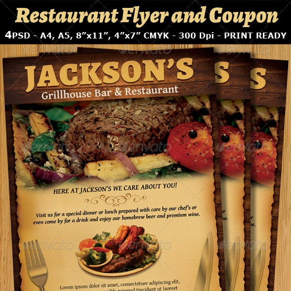 Restaurant-Bar Magazine Ad or Flyer Template V2