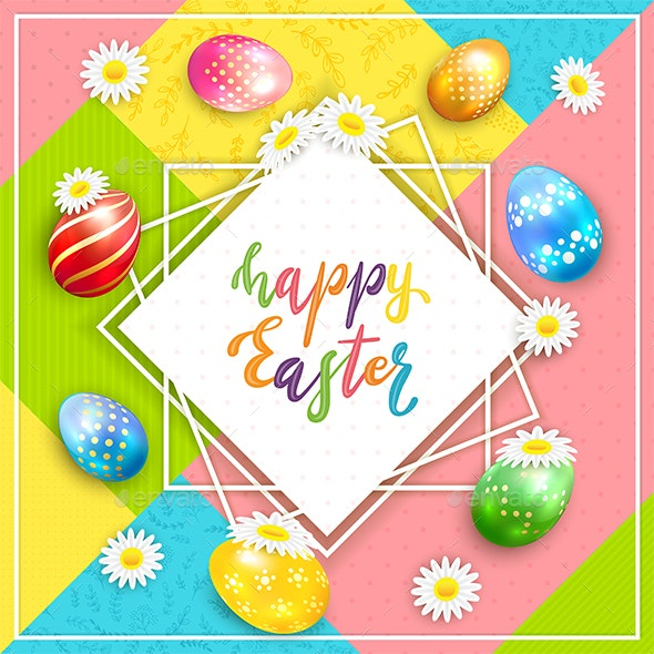 Holiday Easter Card on Colorful Background - Miscellaneous Seasons/Holidays