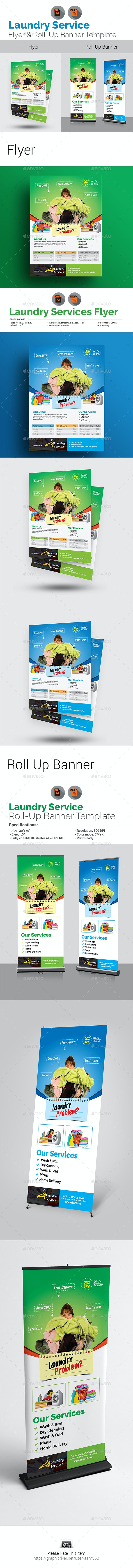 Laundry Service Flyer with Rollup Bundle - Commerce Flyers