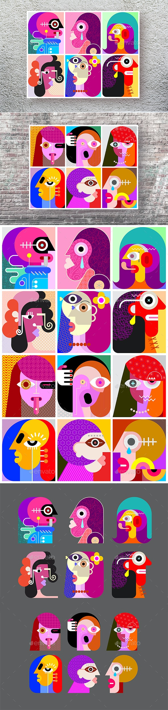 Twelve Abstract Vector Faces - People Characters