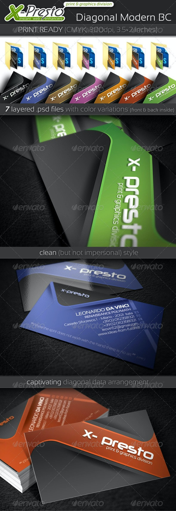 Diagonal Modern BC - Corporate Business Cards